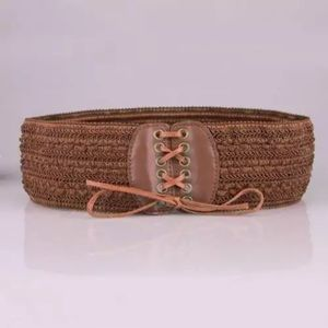 Thick Woven Brown Boho Belt Lace Tie Faux Leather